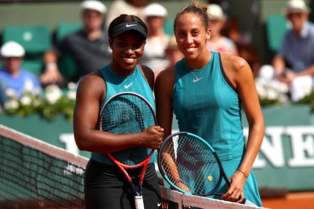 Stephens and Keys pose before the semifinal (Getty/Clive Brunskill)