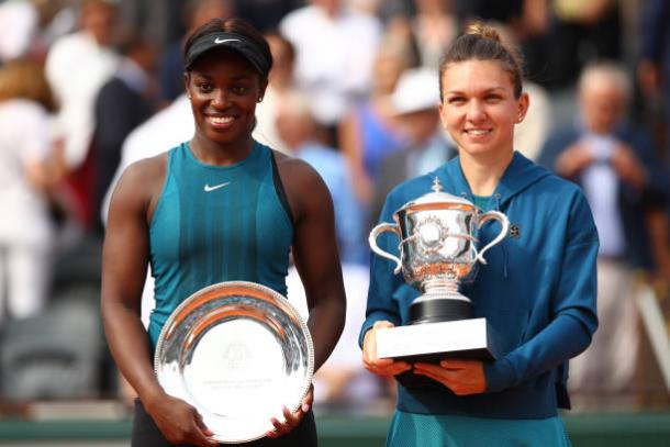 Stephens and Halep together after the final (Getty/Cameron Spencer)