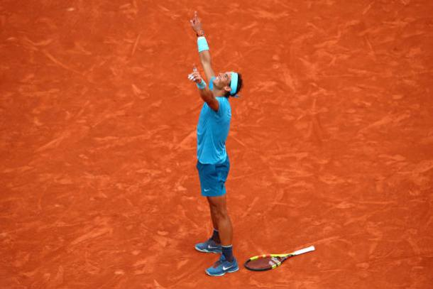Nadal celebrates winning his 11th French Open title (Getty/Cameron Spencer)