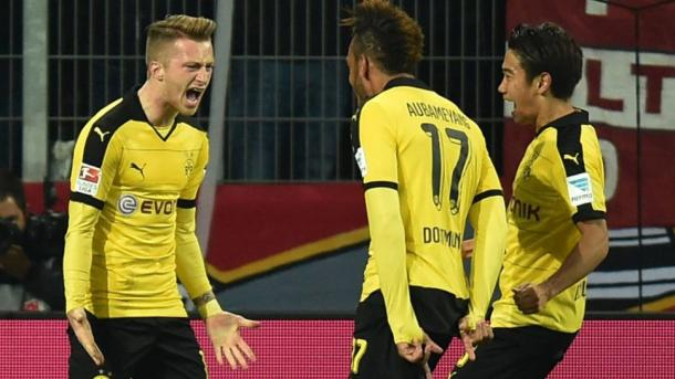 Reus celebrating his opener against Mainz the last time the two met | Photo: kicker
