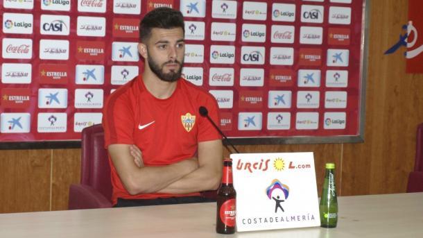 Luis Rioja en la sala de prensa | Fuente: UD Almería