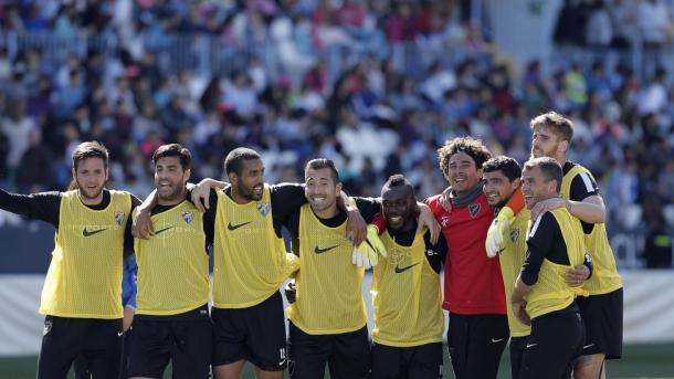 Algunos jugadores de la plantilla durante el entrenamiento | Foto: Málaga CF