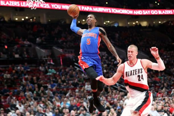 Kentavious Caldwell-Pope proiettato a canestro. Fonte: Pistons powered