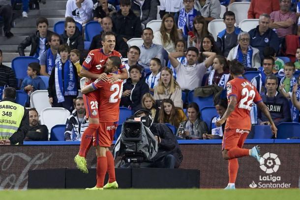 El Getafe celebra el gol de la victoria en el partido de ida. Fuente: LaLiga