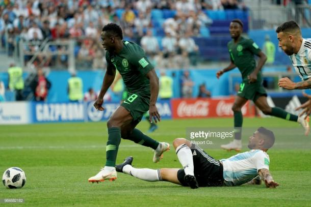 Oghenekaro Etebo made an impact for Nigeria at the 2018 World Cup. (picture: Getty Images / Allsport Co.)