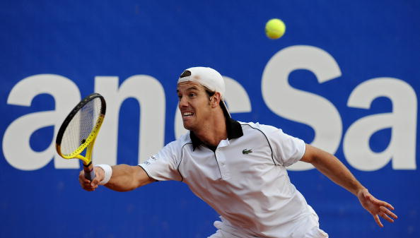 Richard Gasquet slides into a forehand at the Barcelona Open Banc Sabadell/Getty Images