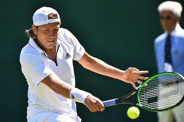 Lucas Pouille plays a return to Denis Kudla (Photo: Glyn Kirk/Getty Images)