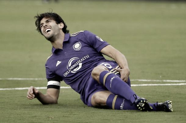 Kaka goes down with an injury in the last NYCFC vs Orlando meeting. | Photo: Reinhold Matay-USA TODAY Sports
