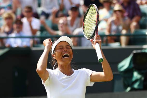 Hsieh Su-Wei celebrates her thrilling win over Simona Halep in the third round (Getty/Michael Steele)