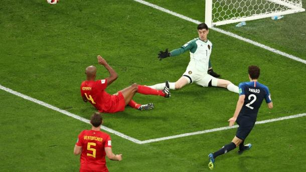 Thibaut Courtois was called upon to keep Belgium in the game | Source: Getty Images via FIFA.com