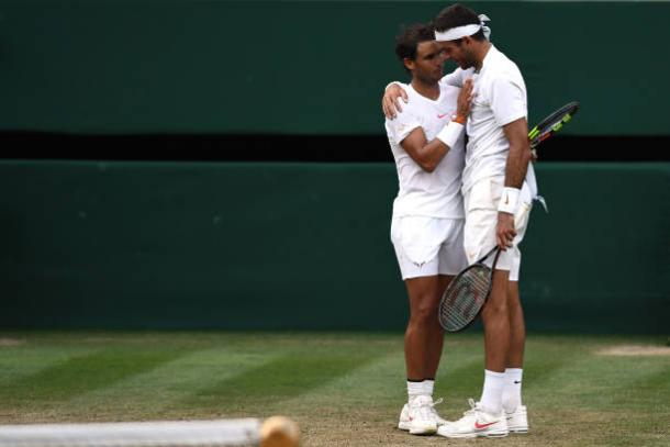 Nadal and del Potro embrace following their classic encounter (Getty/Clive Mason)