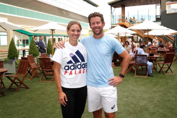 Kerber with coach Wim Fissette following her triumph at Wimbledon yesterday (Getty/Julian Finney)
