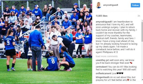 Amy Rodriguez posted on Instagram about her injury | Source: Amy Rodriguez Instagram - amyrodriguez8