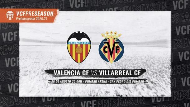 Cartel del Valencia CF-Villarreal CF del próximo 28 de agosto | Foto: Valencia CF