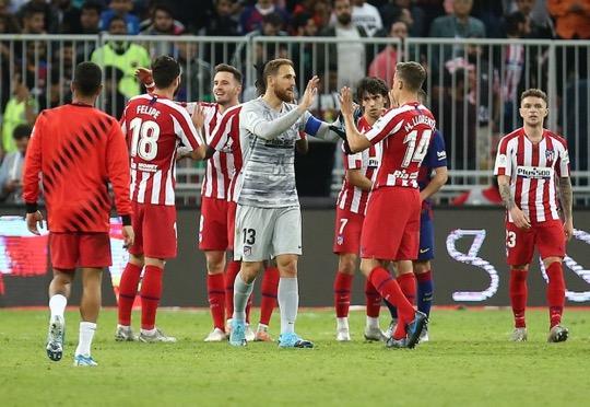 Jugadores del Atlético de Madrid tras ganar al Barcelona en semifinales. / Fuente: Web Atlético de Madrid