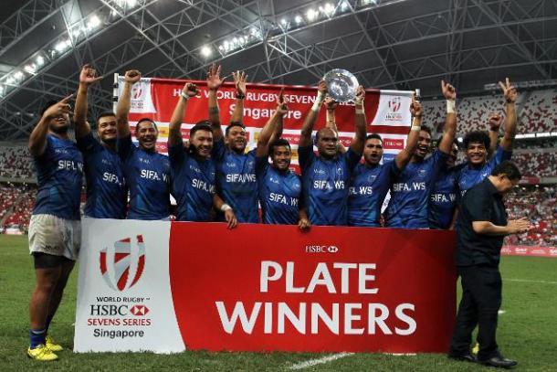 Samoa celebrate winning the Plate final (image via: WorldRugby.org)