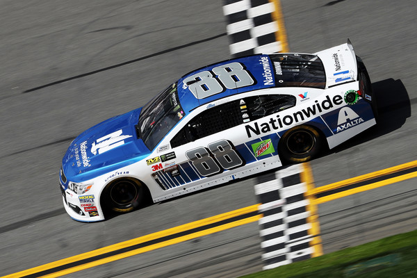 Alex Bowman crosses the finish line. (Chris Graythen/Getty Images North America)