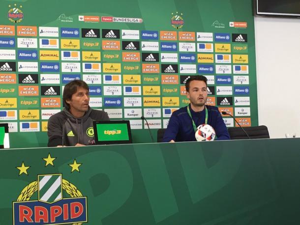 Conte in his post-match presser. | Image credit: Rapid Vienna