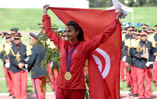 Habiba Ghribi receives the London 2012 gold medal in Tunisia (AFP/ Fathi Belaid)
