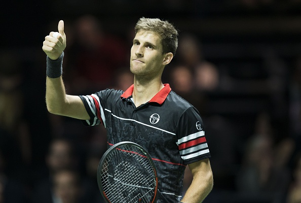 Martin Klizan after a win in Rotterdam last year (AFP/ Koen Suyk)