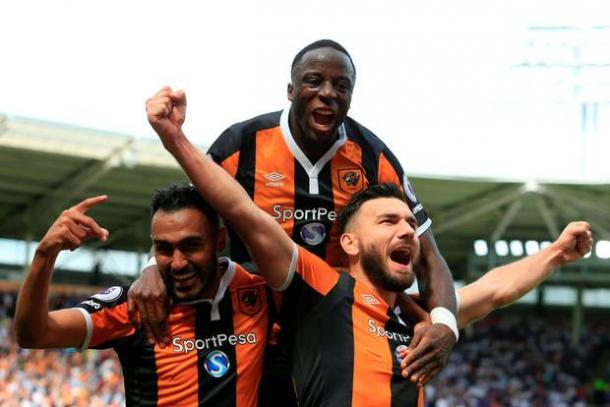 The Hull players celebrate Snodgrass' winner against Leicester | Photo: Getty