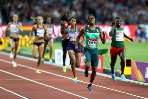 Semenya storms down the final straight to take her second world title (Getty/Alexander Hassenstein)