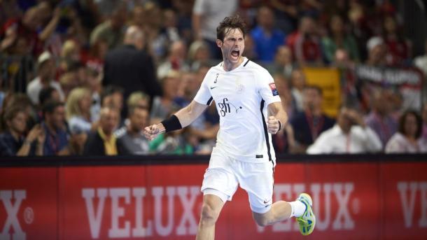 Gensheimer durante las semifinales. Foto: EHF.