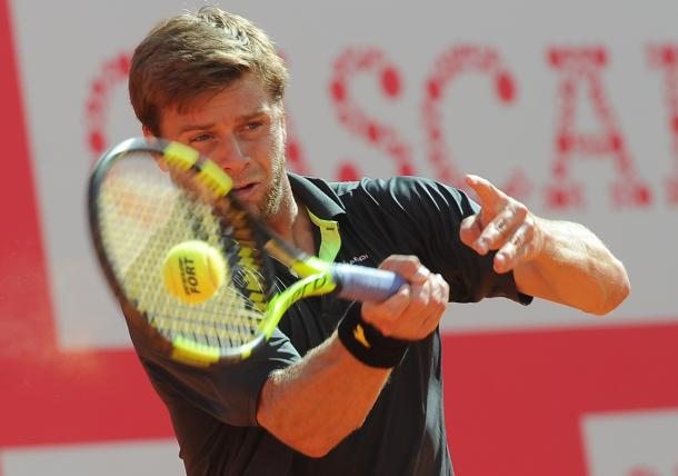 Ryan Harrison playing his singles match today. (Photo by Millennium Estoril Open)