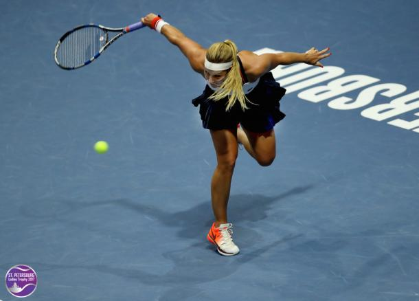 Dominika Cibulkova looked to be playing her best tennis today | Photo: WTA St. Petersburg Ladies Trophy (Formula TX)