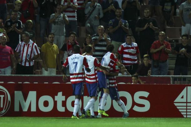 Celebración del gol de Joselu   Foto: AL Juárez
