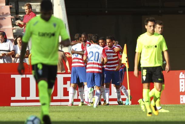 Celebración del gol de Machís | Foto: Antonio L. Juárez