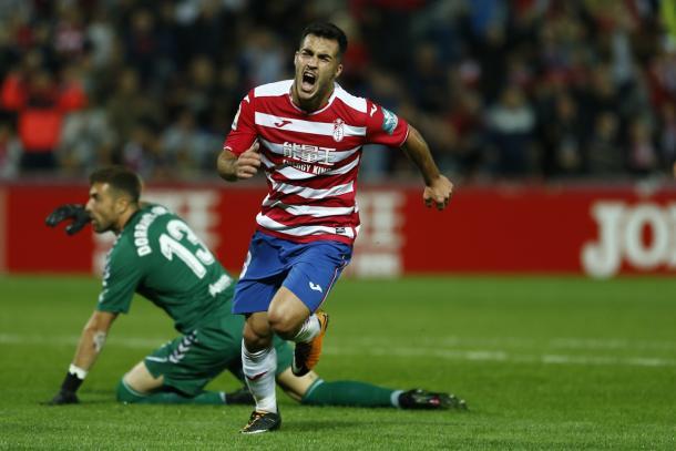 Joselu celebra con rabia su gol   Foto: Antonio L. Juárez