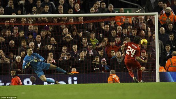 Joe Allen's penalty sent Liverpool to the final (photo: Ian Hodgson)