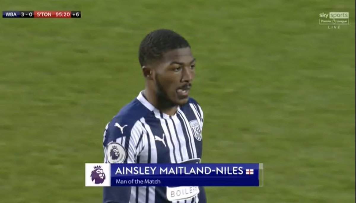 Maitland Niles was named Man-of-the-Match in West Brom's 3-0 victory over Southampton