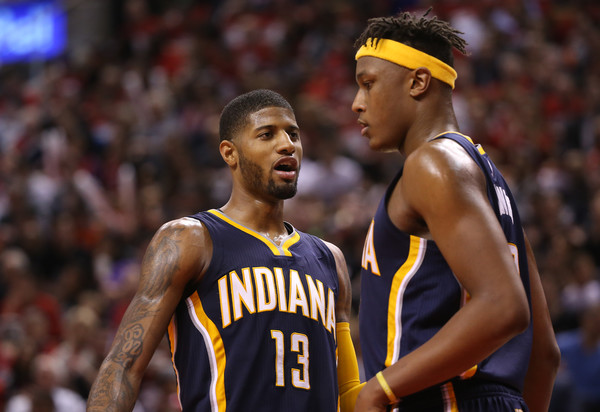 Paul George, Myles Turner and the new look Indiana Pacers look to turn heads in the East. Photo: Tom Szczerbowski/Getty Images North America