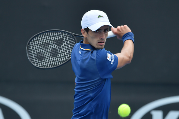 Pierre-Hugues Herbert gears up to hit a return in his loss to Denis Istomin (Photo: Peter Parks/Getty Images)
