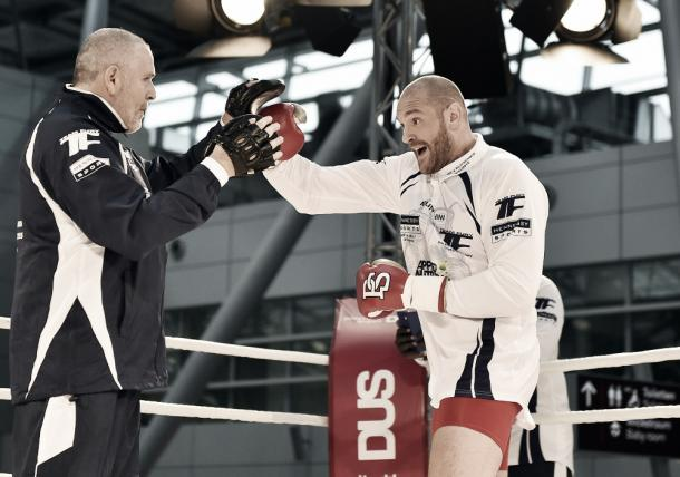 Fury training ahead of his first fight with Klitschko.  Credit: Martin Meissner, AP Photo