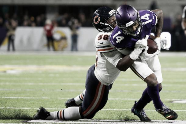 Stefon Diggs acabó con 47 yardas para superar las mil en la temporada | Foto: AP Photo