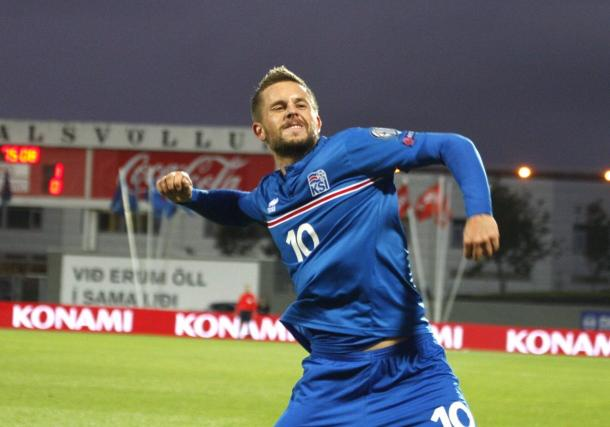 After 11 goals from midfield this season, Gylfi Sigurdsson is certainly Iceland's danger man. (Photo: visir.is)