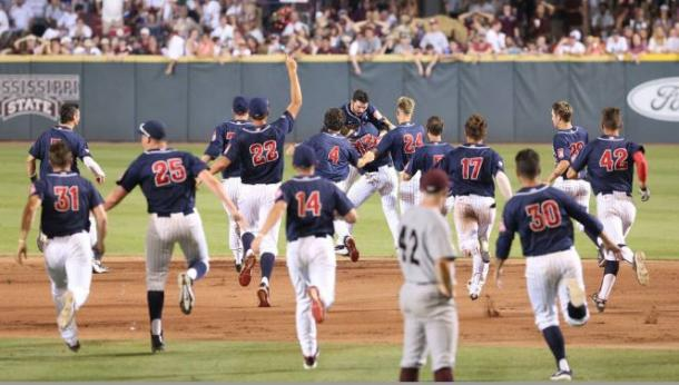 The Wildcats celebrate after defeating Mississippi State. (Arizona Athletics)