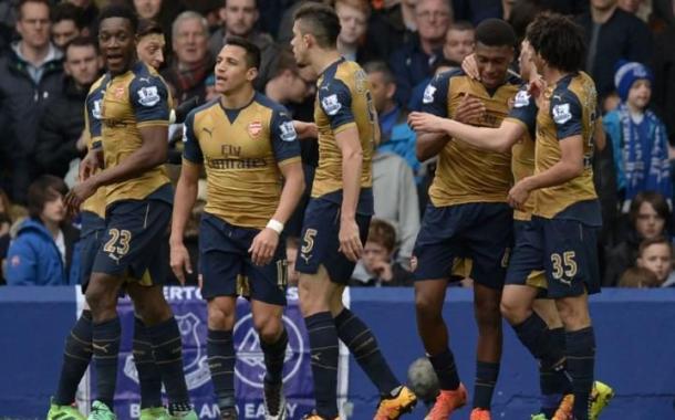 Jugadores del Arsenal celebran un gol esta temporada. Foto: Daily Telegraph