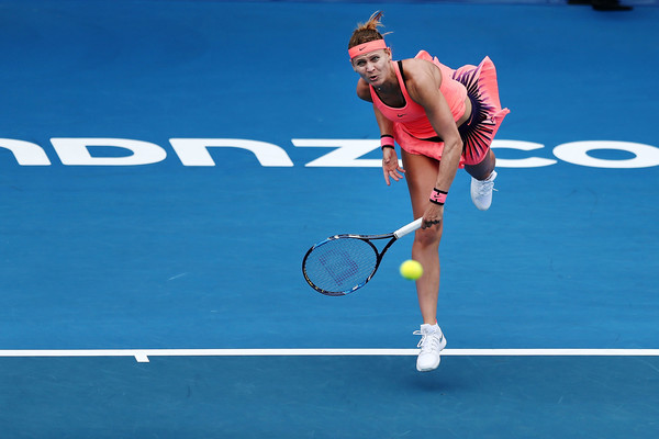 Lucie Safarova serves during the match | Photo: Anthony Au-Yeung/Getty Images AsiaPac
