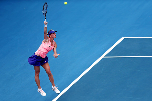 Denisa Allertova serves during the match   Photo: Anthony Au-Yeung/Getty Images AsiaPac