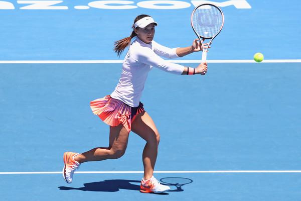 Lauren Davis during her win over Barbora Strycova. Photo Source: Getty Images/Phil Walter