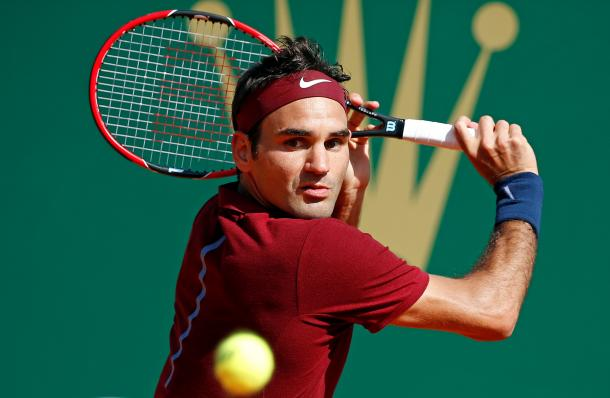 Federer gets set ti hit a backhand volley during a match at the 2016 Monte-Carlo Rolex Masters. Credit: ATP World Tour