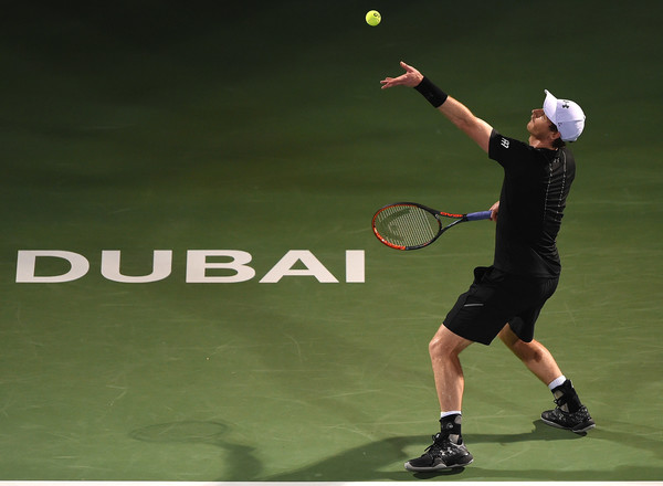 Murray serves in his quarterfinal match (Photo by Tom Dulat/Getty Images)