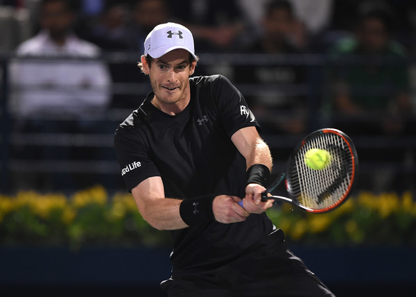 Murray strikes a backhand  (Photo by Tom Dulat/Getty Images)