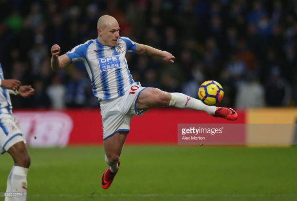 Aaron Mooy of Huddersfield controlling the ball during the Premier League match between Watford and Huddersfield Town at Vicarage Road on December 16, 2017