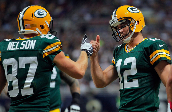 Aaron Rodgers and Jordy Nelson will be back as a duo in 2016 after Nelson missed the entire 2015 campaign due to injury.   Photo: Doug Pensinger/Getty Images