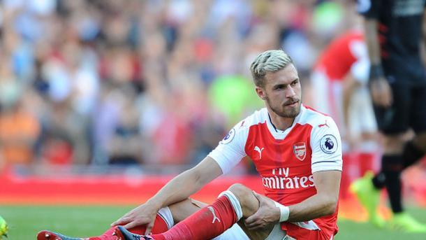 Ramsey en el momento de su lesión. Foto: Arsenal